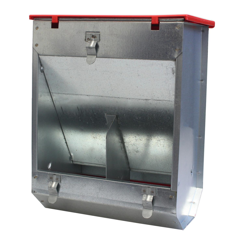 Karmik dla kr�lik�w dwukomorowe metalowy 22 cm z pokrywk� ECON