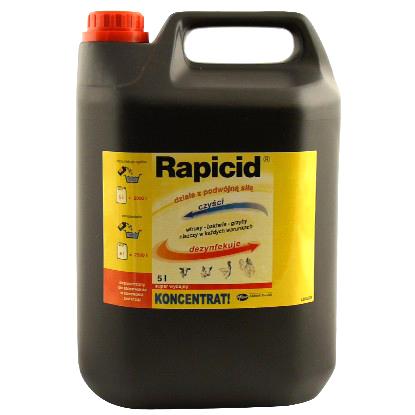 Rapicid 5l preparat dezynfekcyjny i myjący do budynków inwentarskich