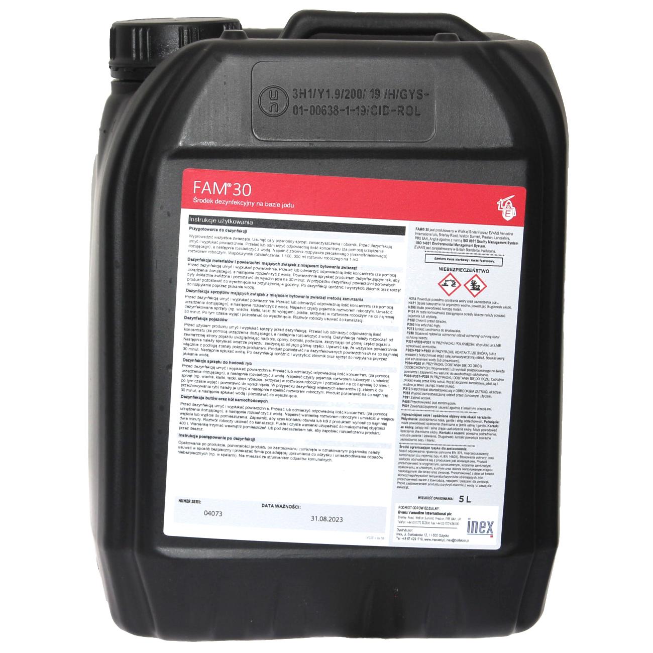FAM30 5l preparat do dezynfekcji i mycia do budynków inwentarskich