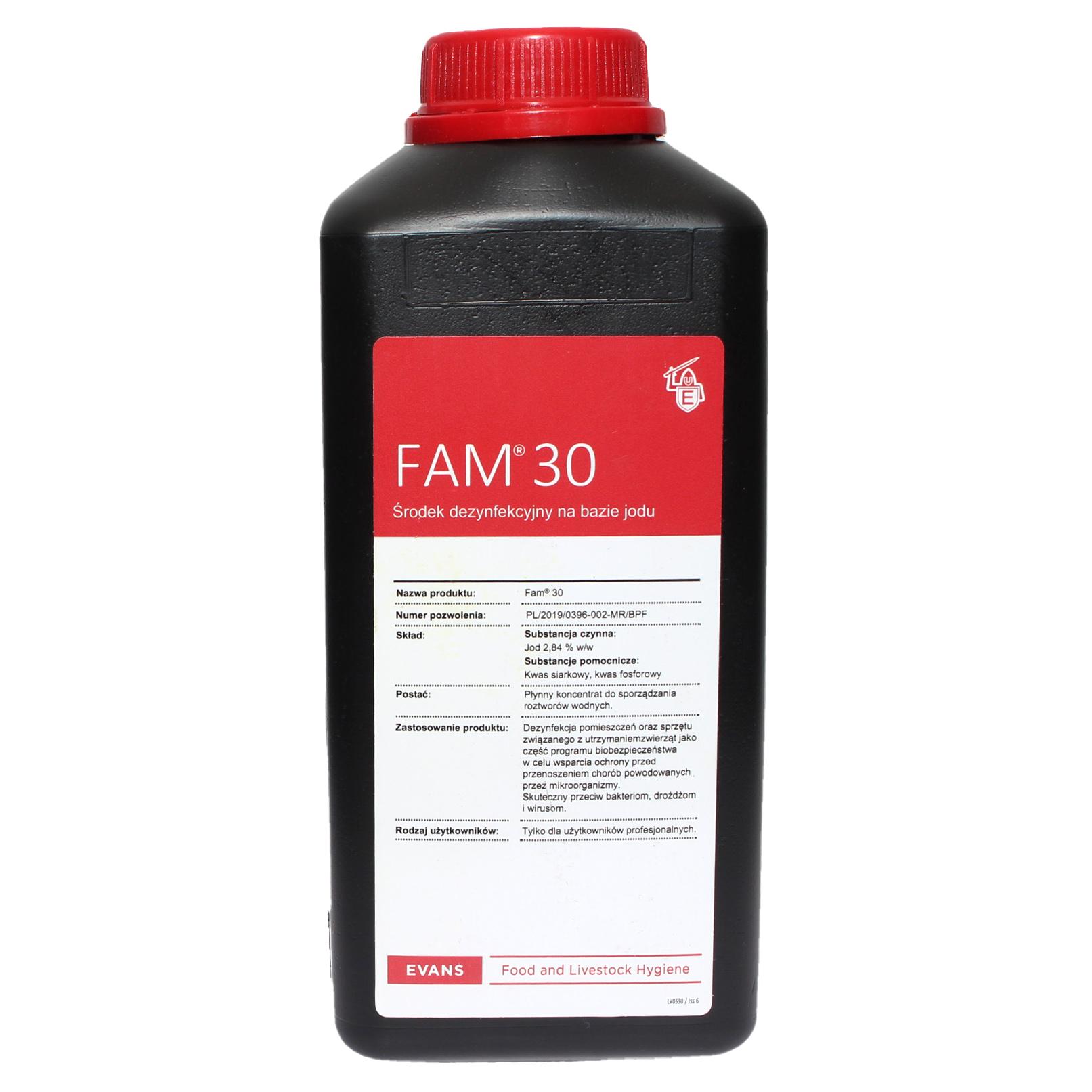 FAM30 1l jodowy preparat do dezynfekcji i mycia do budynków inwentarskich