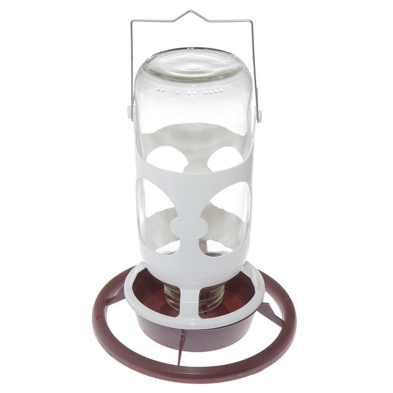 Poidło karmidło dla papug i kanarków ze szklaną butelką i uchwytem - 1 l - zdjecie 1
