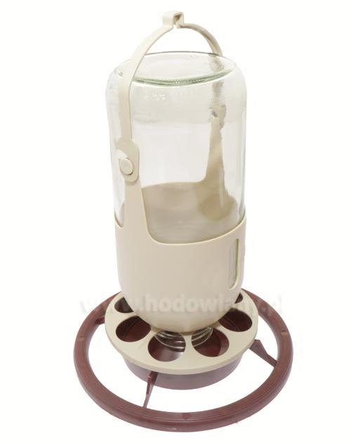 Poidełko/karmidełko dla kanarków i papug ze szklaną butelką 1 litr - brązowy uchwyt - zdjecie 1