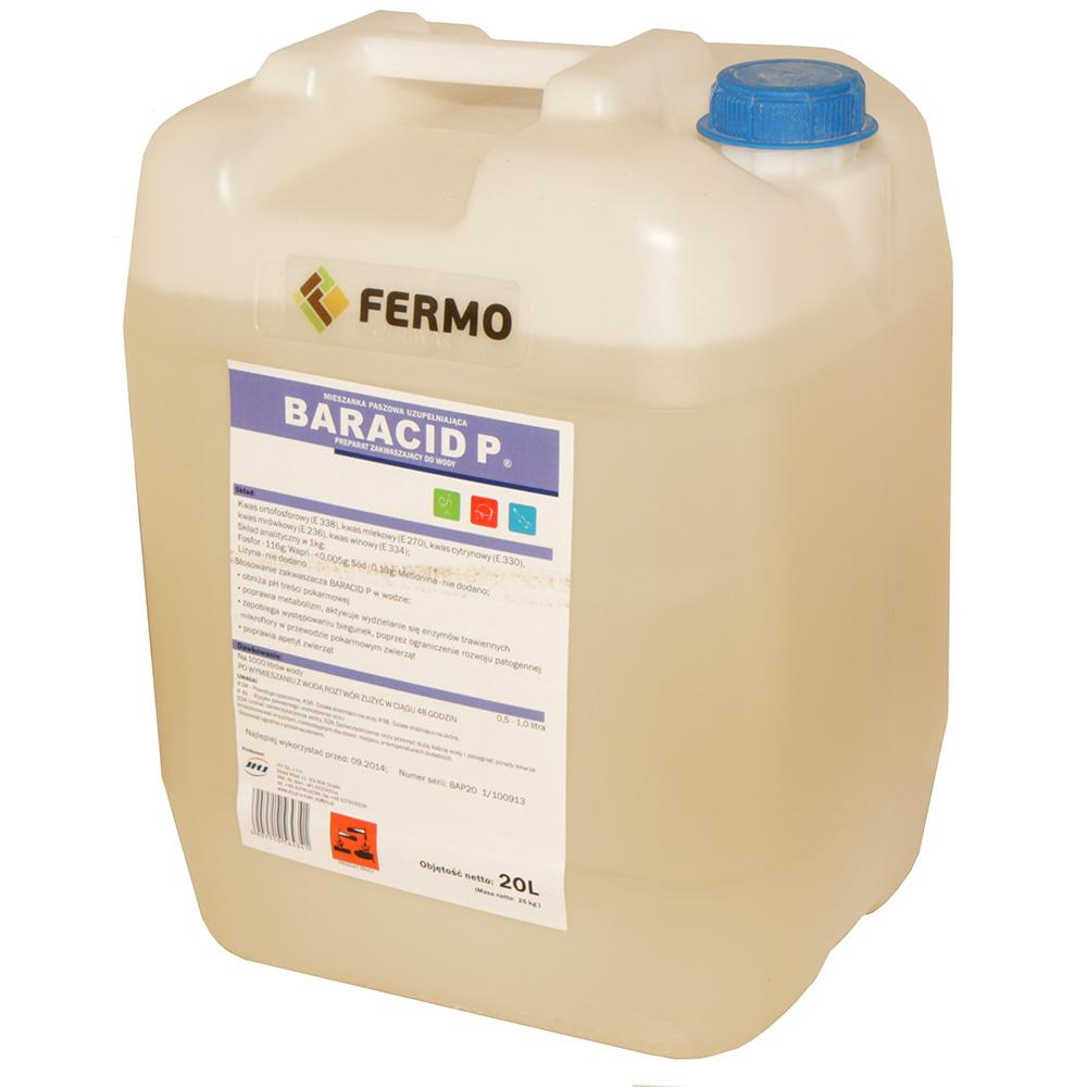 BARACID P 20l preparat do zakwaszania wody i pasz dla trzody chlewnej, drobiu i norek - zdjecie 1