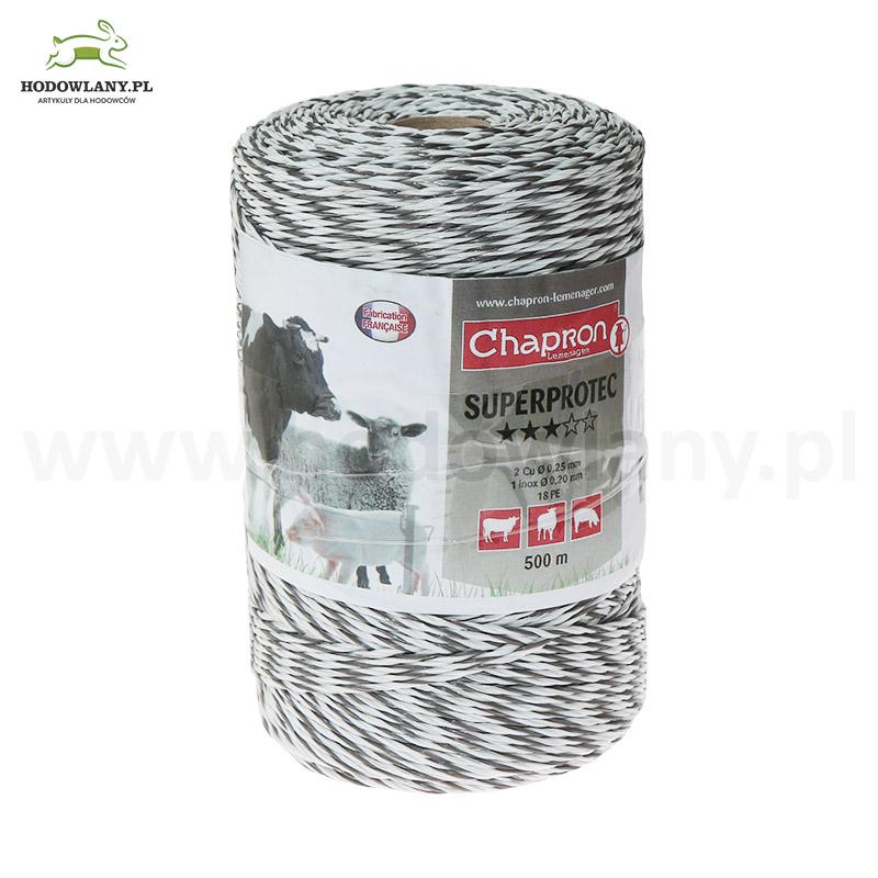 Plecionka biało-czarna do pastucha SUPERPROTEC 500 m - ekstra niska oporność