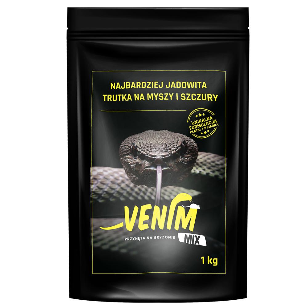 VENIM MIX 1 kg mocna trutka na myszy i szczury 3 rodzaje ziarna i płatki  - zdjecie 1