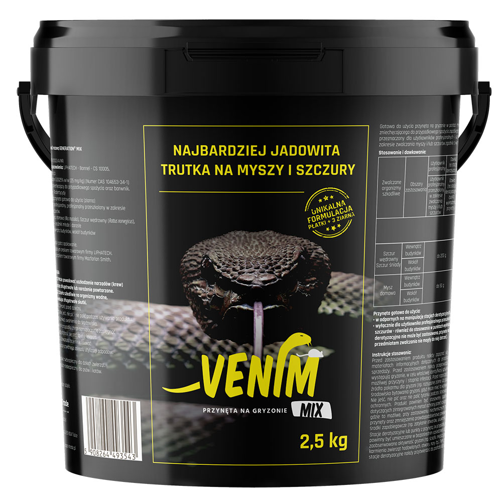 VENIM MIX 2,5 kg mocna trutka na myszy i szczury 3 rodzaje ziarna i płatki  - zdjecie 1