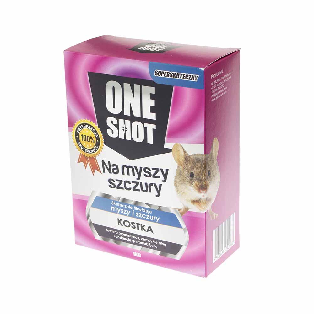 ONE SHOT 1 kg skuteczna trutka na myszy i szczury w kostce  - zdjecie 1