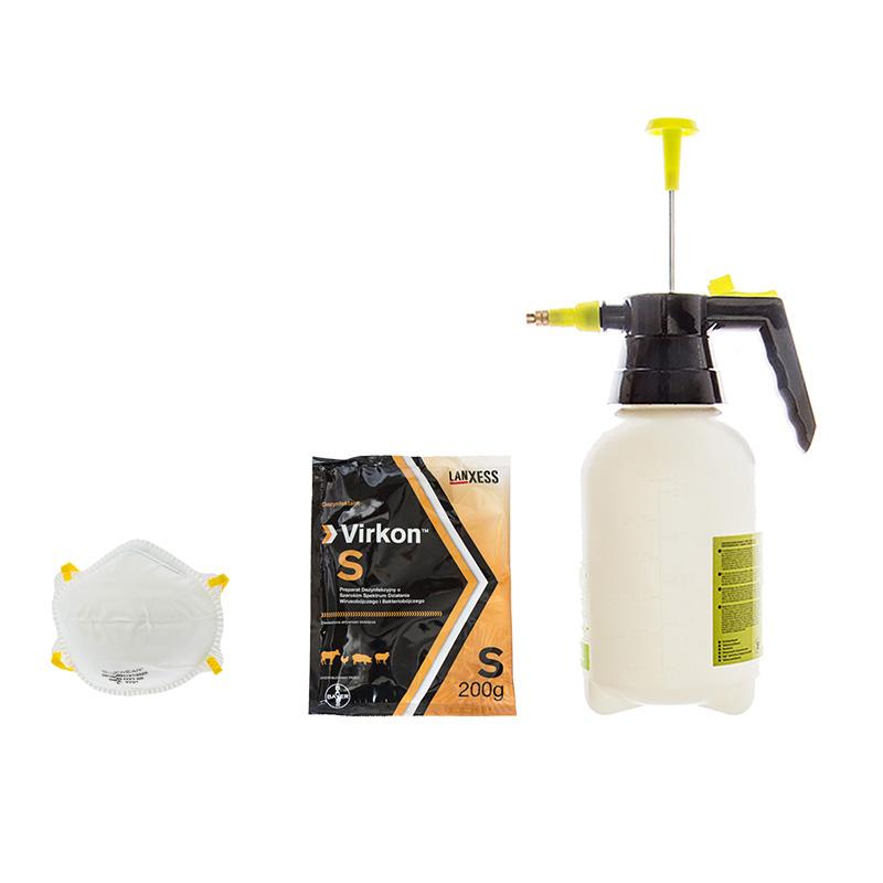 Zestaw dezynfekcja opryskiwacz +Virkon 200g +maska