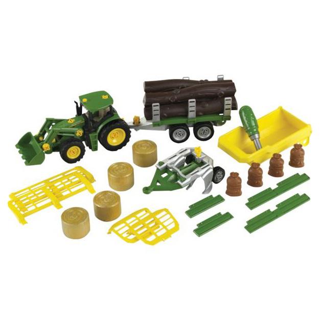 Traktor zabawka John Deere z zestawem przyczep