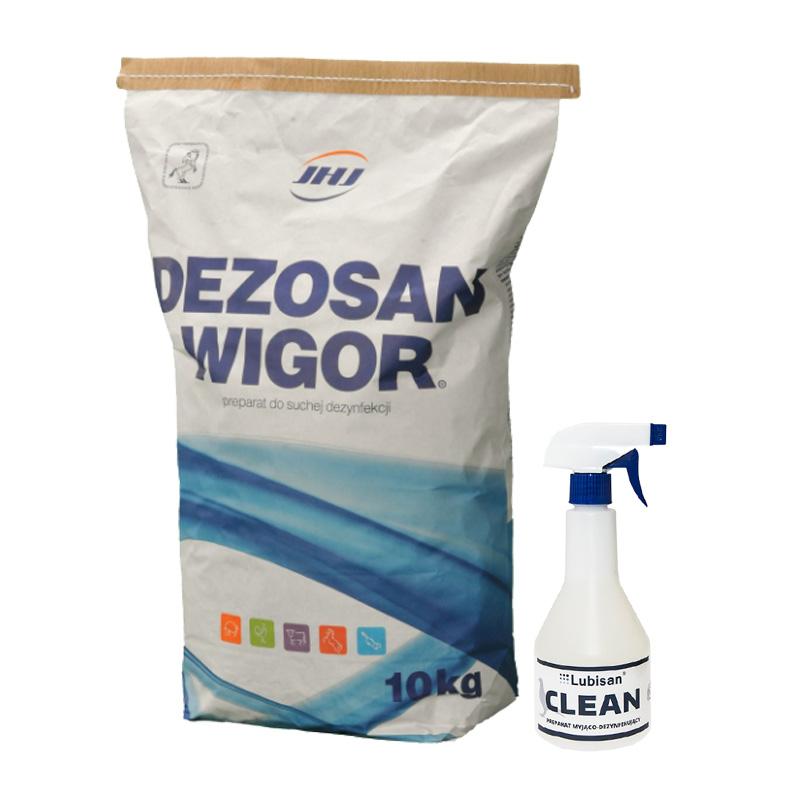 Zestaw do dezynfekcji klatek dla królików Dezosan Wigor 10 kg + Lubisan Clean 500 ml