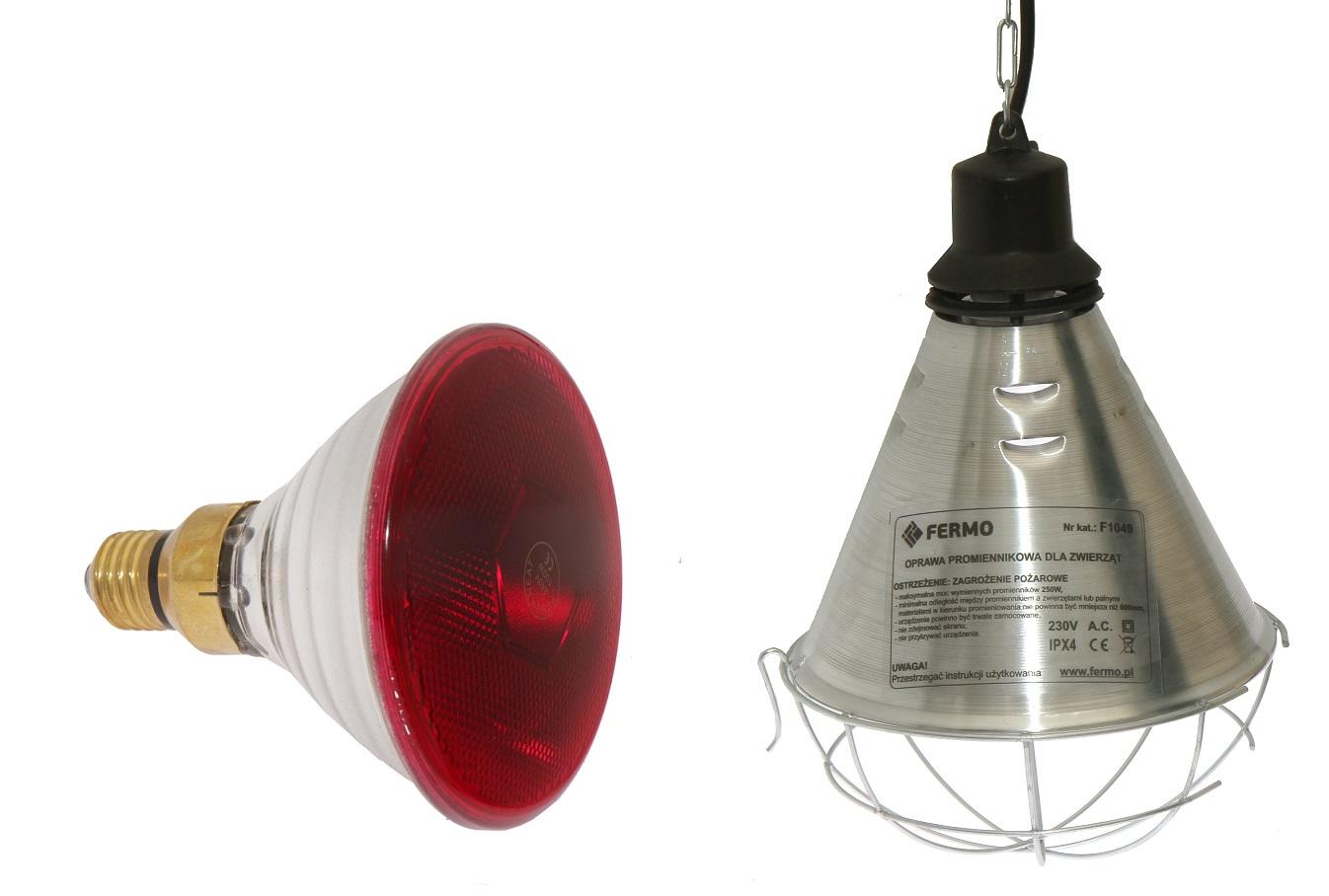 Lampa grzewcza promiennik sztuczna kwoka komplet