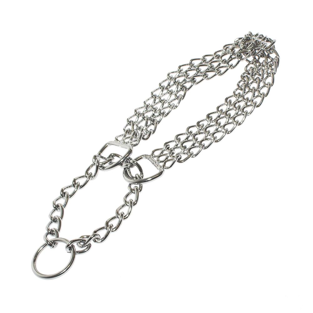 Obroża zaciskowa dla psa trzyrzędowa kolia łańcuszek 45 cm - zdjecie 1