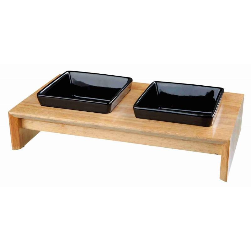Zestaw misek ceramicznych dla psa na drewnianym stojaku 2 x 0,4l - zdjecie 1
