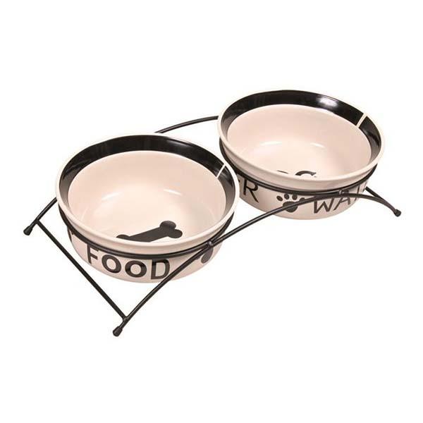 Miski ceramiczne na stojaku dla psów 2 x 1,6 l