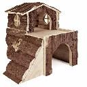 Drewniany domek dla chomika piętrowy