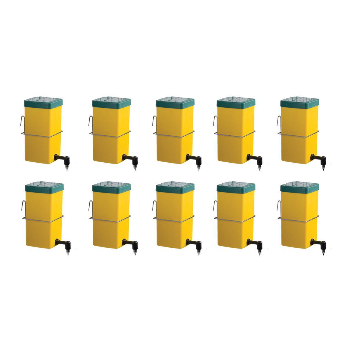 Poidła kropelkowe dla królików z zasobnikiem 1l żółte - zestaw 10 sztuk - zdjecie 1