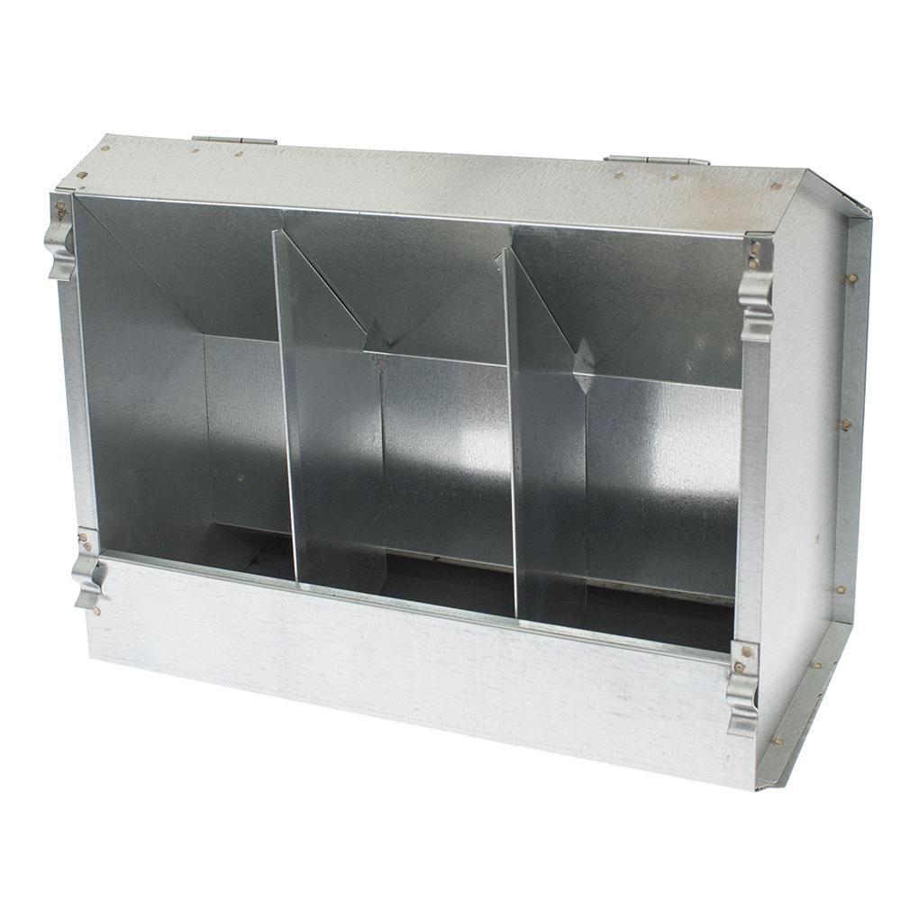 Karmnik dla królików trzykomorowy metalowy 29 cm z pokrywką ECON