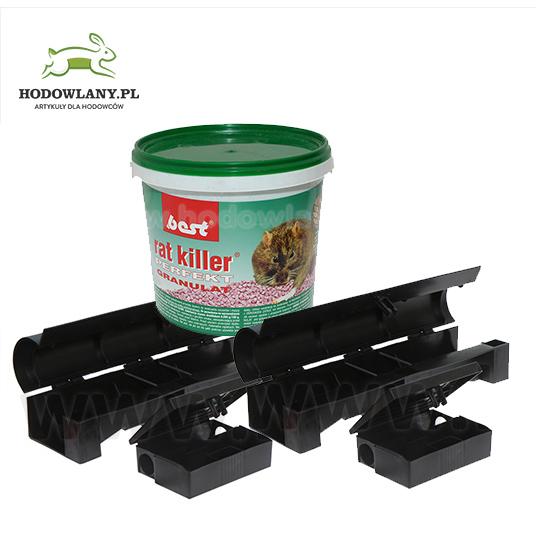Zestaw deratyzacyjny na myszy i szczury 4 stacje + 1 kg trutki RAT-KILLER PERFEKT - zdjecie 1