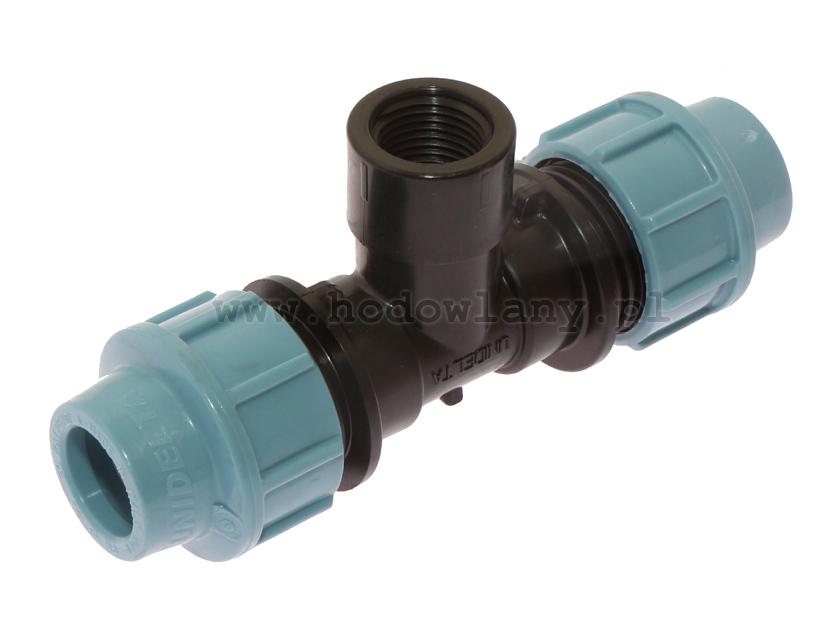 Trójnik do węża PE fi 20 mm z wyjściem GW 1/2 cala do systemu pojenia dzwonowego - zdjecie 1