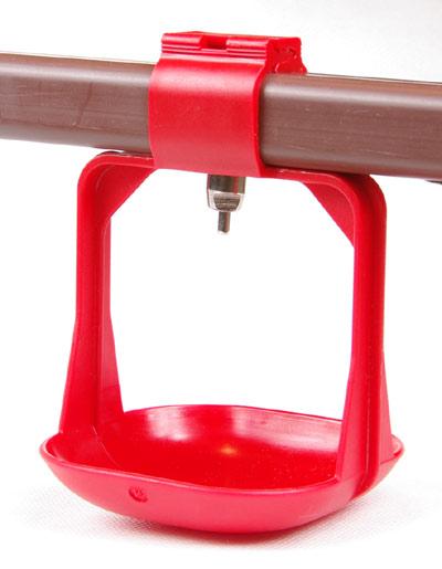 Duża miseczka okapowa dwuramienna pod poidło smoczkowe na rurę kwadratową - zdjecie 1