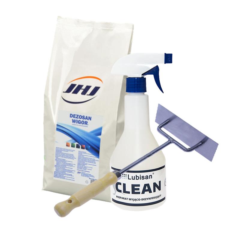 Zestaw do dezynfekcji klatek skrobak + Dezosan Wigor 2 kg + Lubisan Clean