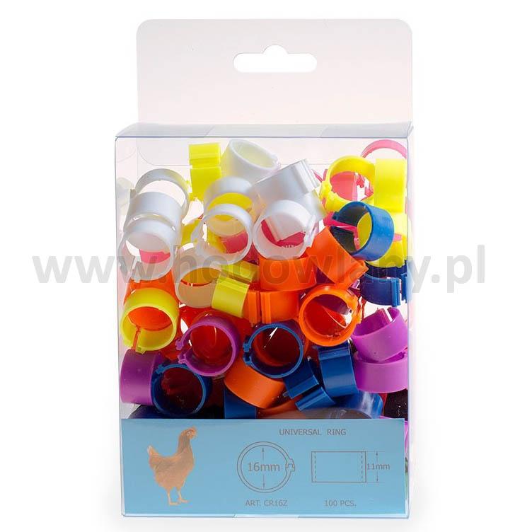 Znaczniki klipsowe 16 mm obrączki dla kur 100 sztuk w 10 różnych kolorach
