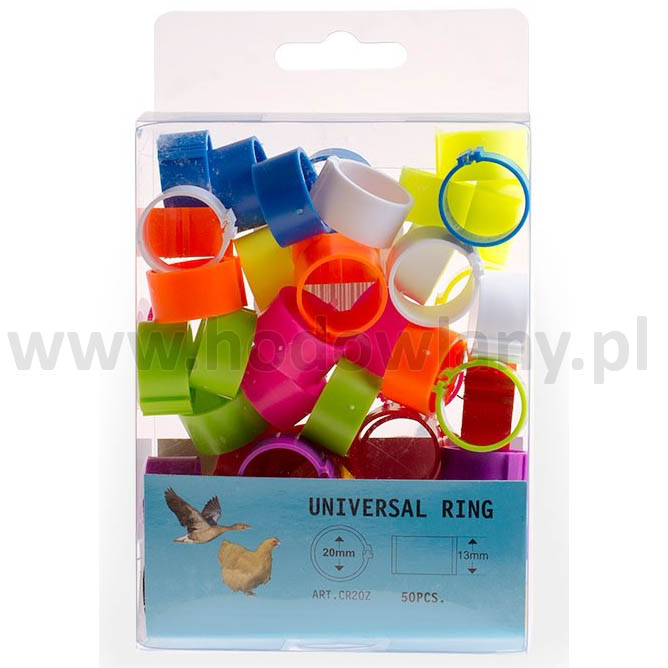 Obrączki do znakowania gęsi 20 mm - 50 sztuk w 10 różnych kolorach