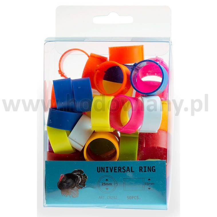 Znaczniki, obrączki dla indorów 25 mm - 50 sztuk w 10 kolorach
