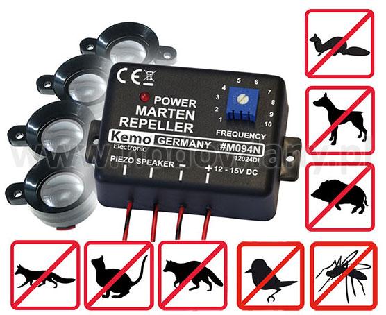 Ultradźwiękowy odstraszacz ptaków, kun, gryzoni, lisów, dzików - uniwersalny - zdjecie 1