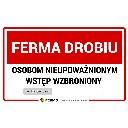Tabliczka ostrzegawcza UWAGA FERMA DROBIU